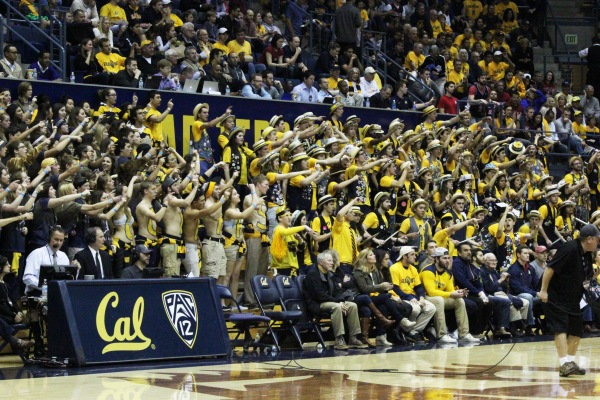 The student section hazing an Arizona player after a foul